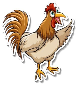 Ein niedlicher hühnerkarikatur-tieraufkleber