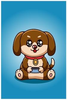 Ein niedlicher hund, der nach lebensmittelrationsillustration fragt