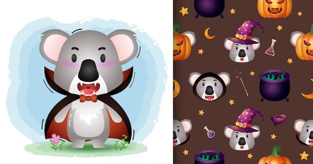 Ein niedlicher koala mit dracula-kostüm-halloween-charaktersammlung. nahtlose muster- und illustrationsdesigns