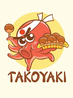 Ein niedlicher kraken-koch, der takoyaki-nahrungsmittel-zeichentrickfilm-logo und maskottchenillustration hält