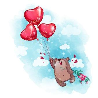 Ein niedlicher lächelnder teddybär fliegt auf ballonherzen und hält einen blumenstrauß von rosen.