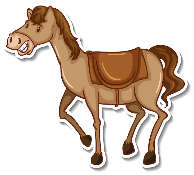 Ein niedlicher pferdekarikatur-tieraufkleber