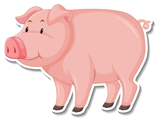 Ein niedlicher schwein-cartoon-tieraufkleber Kostenlosen Vektoren