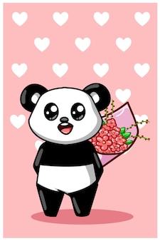 Ein niedlicher und glücklicher panda, der einen blumenstrauß der blumenkarikaturillustration trägt