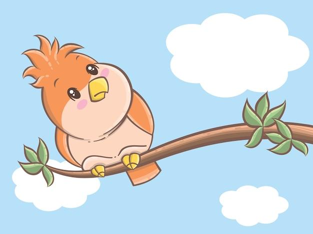 Ein niedlicher vogel thront auf einem ast