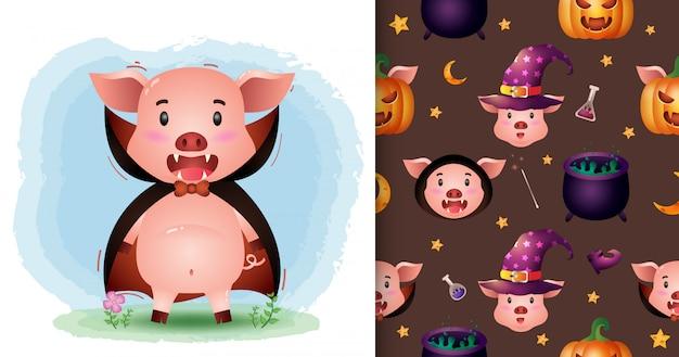 Ein niedliches schwein mit dracula-kostüm halloween-charaktersammlung. nahtlose muster- und illustrationsdesigns
