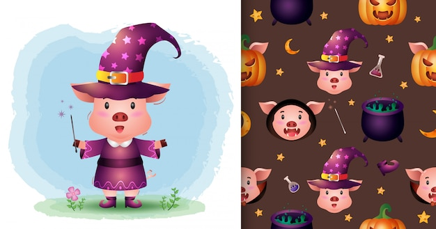 Ein niedliches schwein mit kostüm-halloween-charaktersammlung. nahtlose muster- und illustrationsdesigns