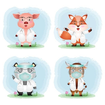 Ein niedliches tier mit arztkostümkollektion: schwein, fuchs, panda und yak