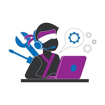 Ein ninja-charakter arbeitet von zu hause aus virtuell und spielt auf einem laptop