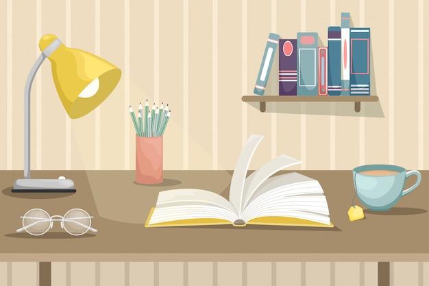 Ein offenes buch auf dem schreibtisch mit einer lampe, einer tasse tee und punkten. wandregal mit büchern.