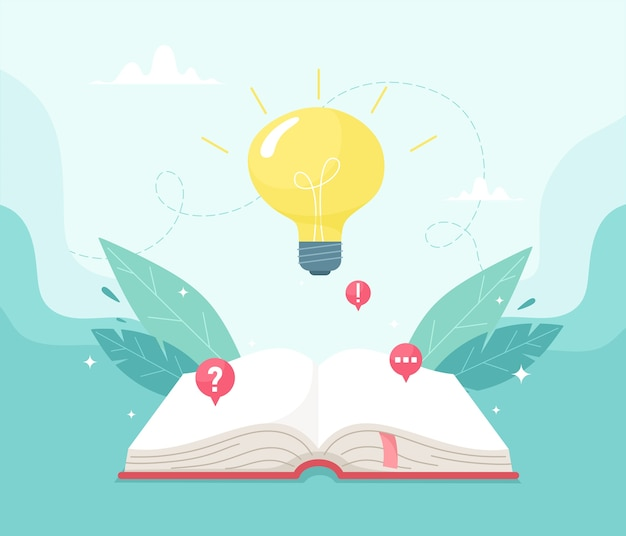 Ein offenes buch und eine glühbirne am himmel. wissen und erfolgreiches lernkonzept. illustration im flachen stil.