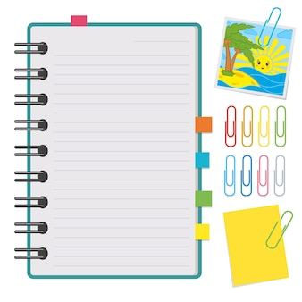 Ein offenes notizbuch mit sauberen blättern auf einer spirale und mit lesezeichen