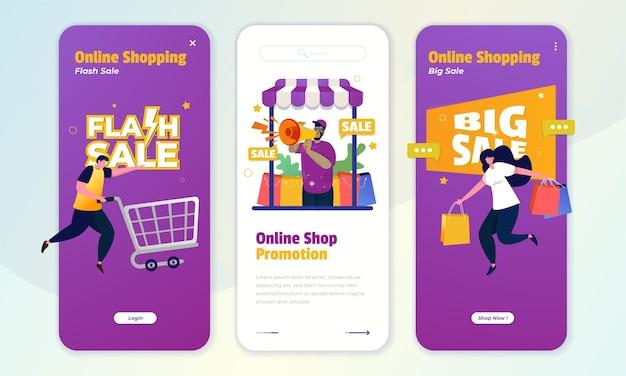 Ein onboard-bildschirmkonzept mit illustration von online-shop-werbung, flash-verkauf und großen verkaufsangeboten