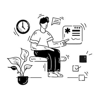 Ein online-termin-glyphen-illustrationsdownload