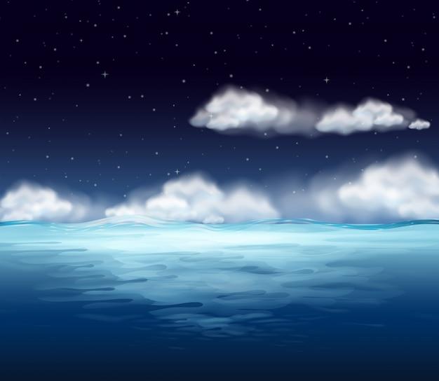 Ein ozean am nachthintergrund