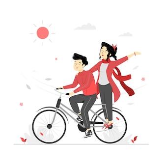 Ein paar auf dem fahrrad