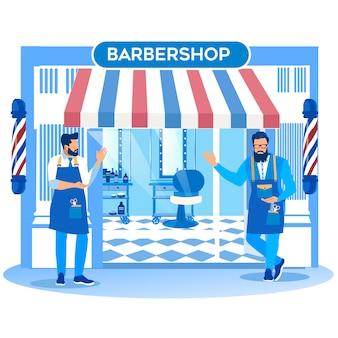 Ein paar barbier-marktschreier, die fußgänger einladen