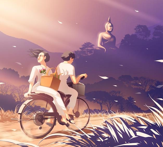 Ein paar, das fahrrad fährt, um dhamma im tempel zu praktizieren