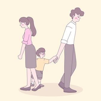 Ein paar, das familiäre probleme hat und einen sohn hat, der nicht will, dass sein vater geht. Kostenlosen Vektoren