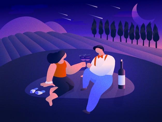 Ein paar, das wein in einer romantischen atmosphäre an einem weinberg trinkt