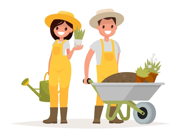 Ein paar gärtner. mann mit schubkarre der erde, eine frau, die einen blumentopf und eine gießkanne hält.