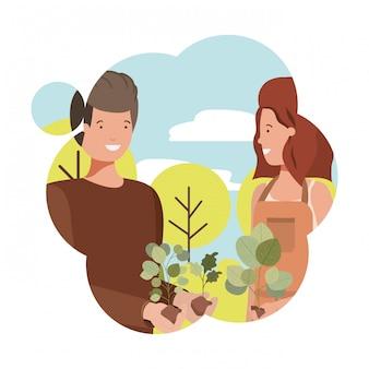 Ein paar gärtner mit landschafts-avatar-charakter