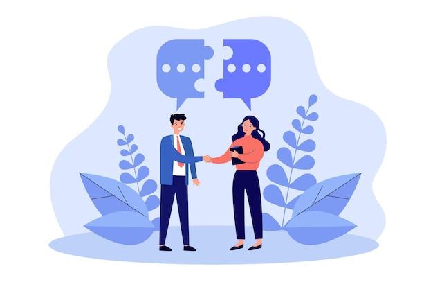 Ein paar geschäftsleute treffen sich, geben sich die hand und reden. sprechblase, die die hälften des puzzles über sich verbindet