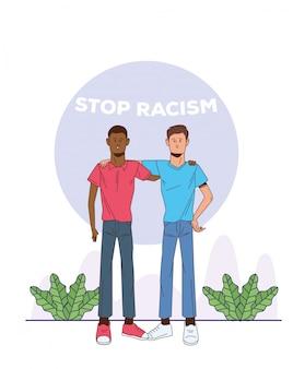 Ein paar interrassische männer stoppen die rassismuskampagne