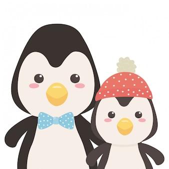 Ein paar pinguinkarikaturen