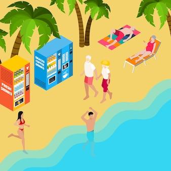 Ein paar rentner beim gehen in der nähe des meeres an der isometrischen illustration des strandurlaubs