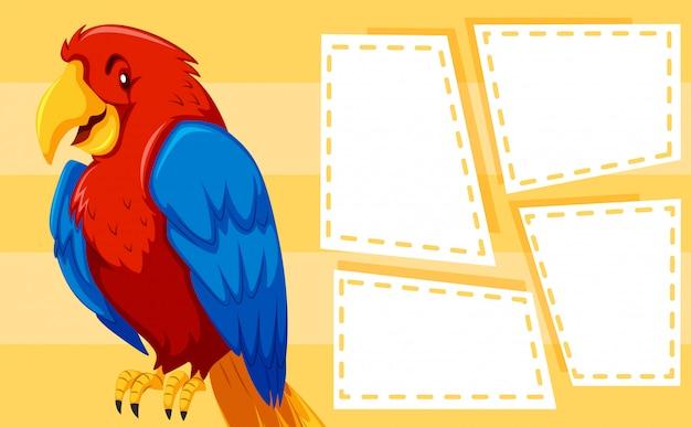 Ein papagei auf notizvorlage