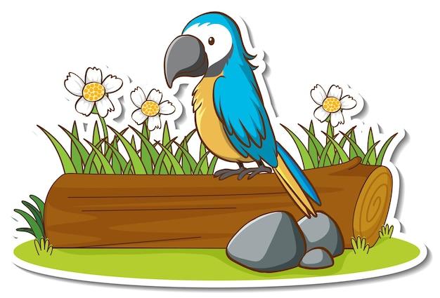 Ein papageienvogel, der auf einem baumstammaufkleber steht