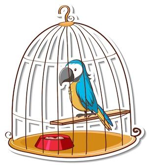Ein papageienvogel in einem käfigaufkleber