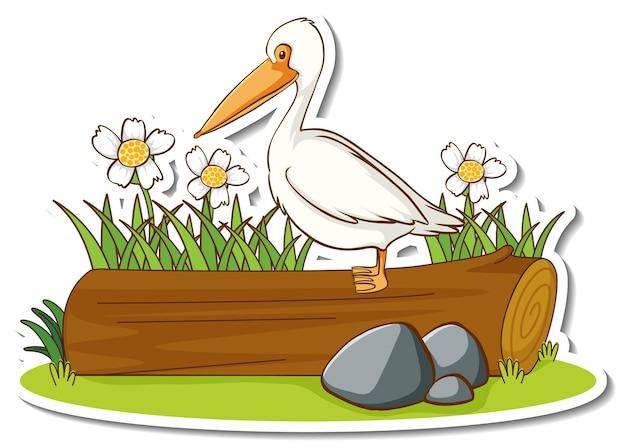 Ein pelikanvogel, der auf einem baumstammaufkleber steht
