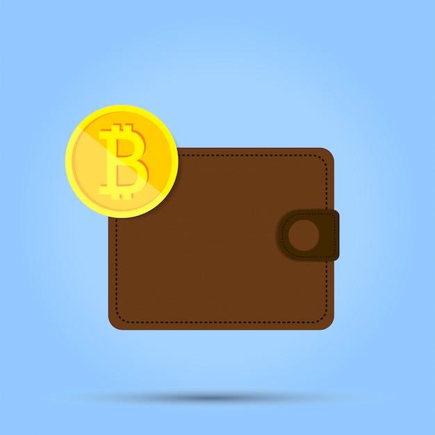 Ein penny währung befindet sich am rand des geldbeutels auf blau