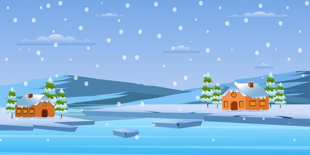 Ein perfekt gestalteter winterhintergrund für desktop- und web-hintergründe