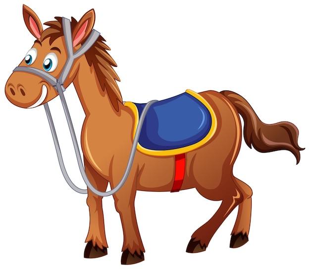 Ein pferd mit sattelkarikaturfigur auf weißem hintergrund