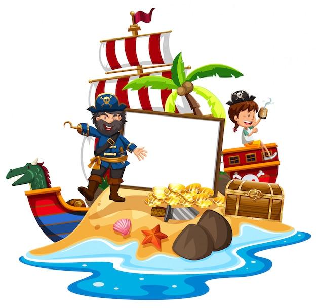 Ein pirat mit girl banner vorlage