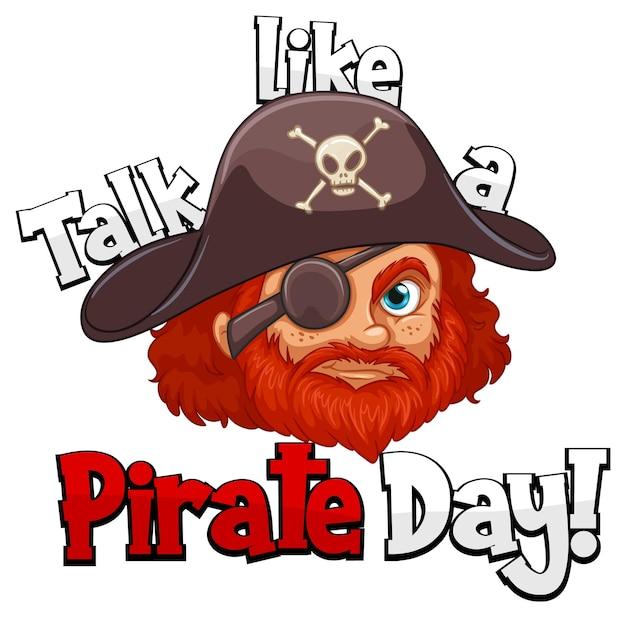 Ein piratengesicht mit gesprächen wie ein piratentagwort auf weißem hintergrund