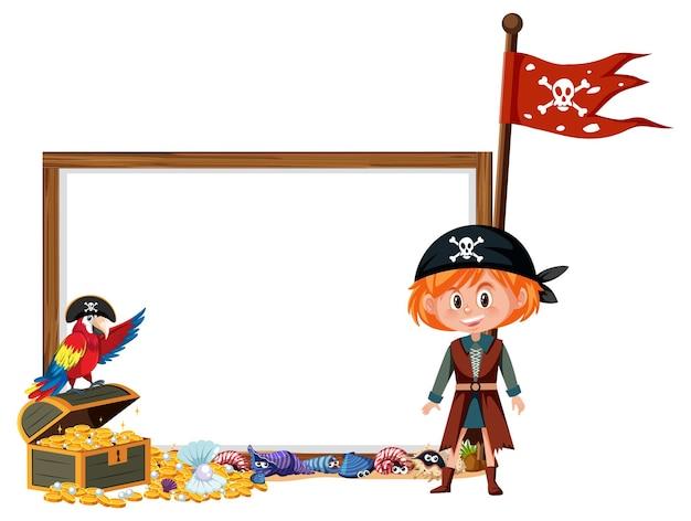 Ein piratenmädchenzeichentrickfilm-figur mit leerer fahnenschablone