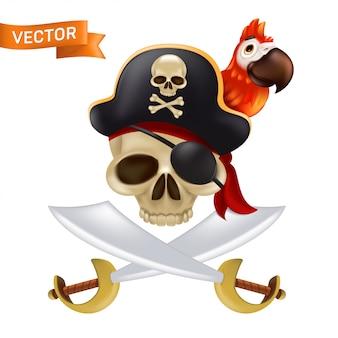 Ein piratenschädel mit gekreuzten schwertern oder säbeln in einer kapitänsmütze mit einem roten papagei. lustige illustration von jolly roger mit einem roten kopftuch und einer schwarzen augenklappe isoliert