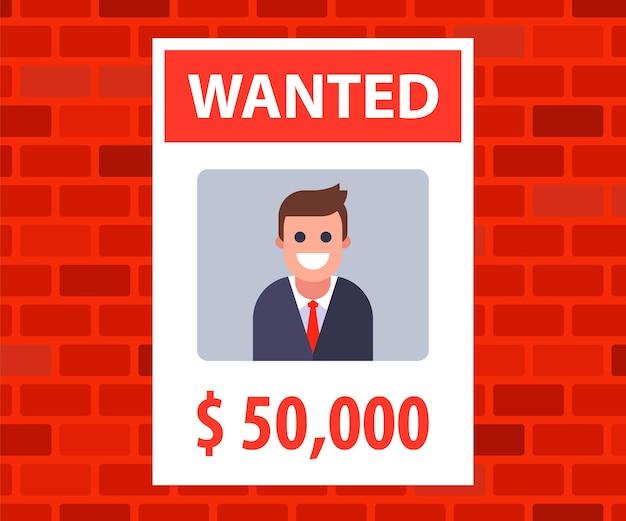 Ein plakat mit einer anzeige für den gesuchten jungen mann. belohnung für informationen über den verlorenen. flache vektorillustration.