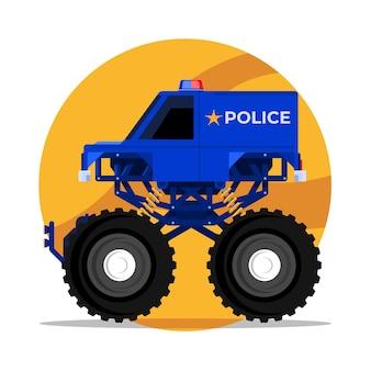 Ein polizei-monsterbox-truck vom rettungsteam bis zur logistik