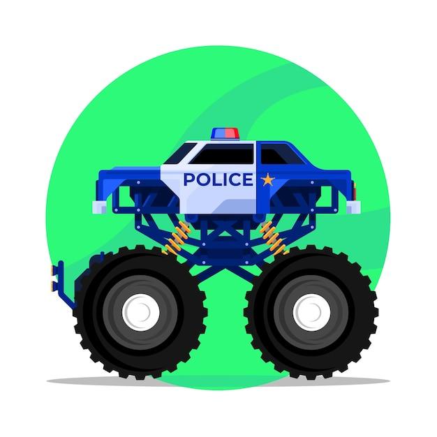 Ein polizei-monstertruck vom rettungsteam