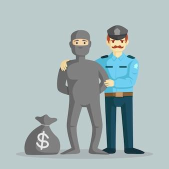 Ein polizist fängt einen dieb mit einem sack geld vektor-illustration
