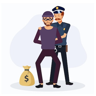 Ein polizist hat den räuber erwischt. kriminelle, flache vektor-cartoon-charakter-illustration.