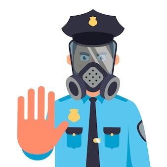 Ein polizist in einer gasmaske zeigt eine stopphand. flache zeichenillustration.