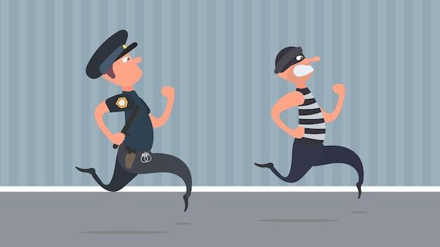 Ein polizist läuft einem dieb hinterher. der kriminelle entkommt dem polizisten. cartoon-stil.
