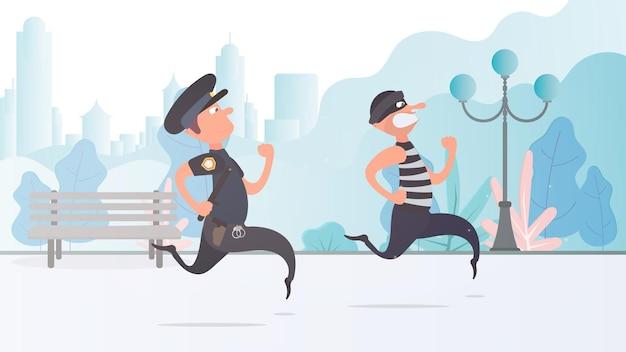 Ein polizist läuft einem dieb hinterher. der kriminelle entkommt dem polizisten.