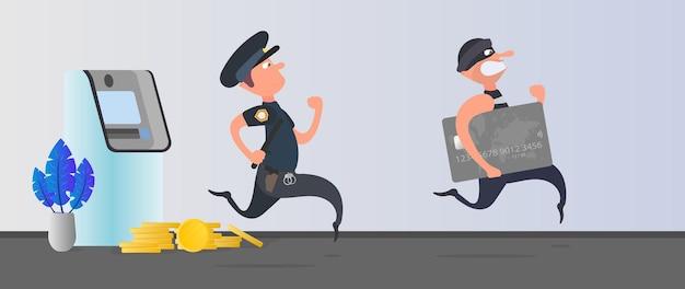Ein polizist läuft einem dieb hinterher. der räuber stiehlt eine bankkarte und rennt davon. geldautomat, goldmünzen. betrugskonzept. cartoon-stil. vektor.